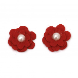 Flower from felt with pearl for embellishment of tiaras, hairpins 20x20 mm  red -10 pieces