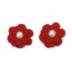 Λουλούδι, τσόχα 20x20 mm με μαργαριτάρι, κόκκινο -10 κομμάτια