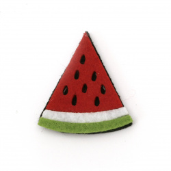 Watermelon felt  for decoration of scrapbook albums40x36x5 mm -10 pieces