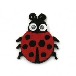 Ladybug felt 39x33x3 mm moving eyes -10 pieces