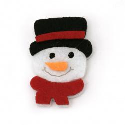 Snowman felt  for decoration of scrapbook albums40x26 mm -10 pieces