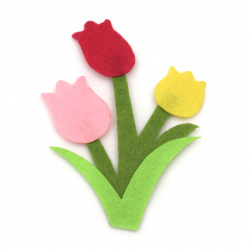 Tulip from felt for decoration of festive cards, frames, boxes 95x68 mm - 4 pieces