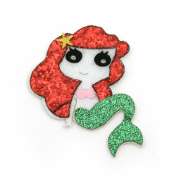 Mermaid felt with leather and brocade 68x68x3 mm -5 pieces