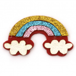Rainbow felt with leather and glitter54x36x3 mm -5 pieces