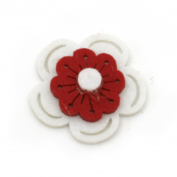 Flower from felt for embellishment of gifts, albums 37x38x6 white with red 3 layers - 10 pieces