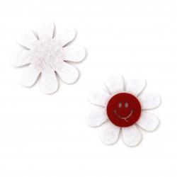 Цвете филц с усмивка 45 мм бяло с червено -10 броя