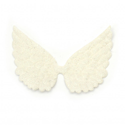 Textile wings with brocade 90x70 mm white -4 pieces