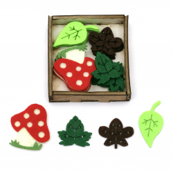 Forest motifs made of felt 30 ~ 45x30 ~ 40 mm ASSORTED in a box -20 pieces