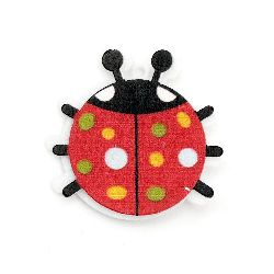 Pendant ladybug wood and felt with glue 40x40 mm hole 2 mm -10 pieces