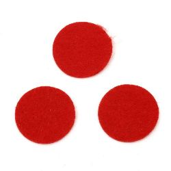 Round Felt Embellishment DIY Scrapbooking 30x1 mm red -20 pieces