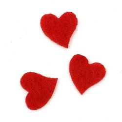 Red heart from felt for decoration of festive cards, frames, albums 13x13x2 mm red - 20 pieces