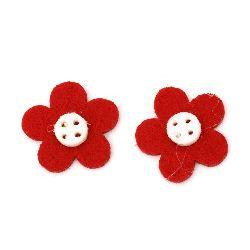 Floare de pâslă 29x29x4 roșie cu alb -10 bucăți