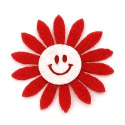 Felt flower with a smile  for decoration of greeting cards, albums 50x2 red with white - 10 pieces