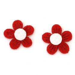 Цвете филц 21x5 мм 2 пласта червено с бяло -10 броя