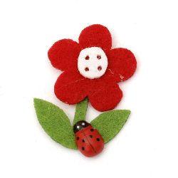 Flower Felt Embellishment DIY Decoration 40x32 mm with ladybug -10 pieces