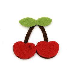 Cherry Felt Embellishment DIY Decoration, 42x44x4mm 10pcs