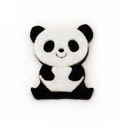Panda Bear Felt Embellishment DIY Scrapbooking 41x34x5 mm 2 layers -10 pieces