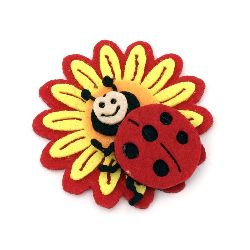 Flower with ladybug from felt for various school projects 55x55x9 mm red with yellow - 5 pieces