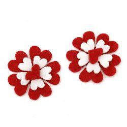 Λουλούδι με καρδιά, τσόχα 35x35x6 mm -10 τεμάχια