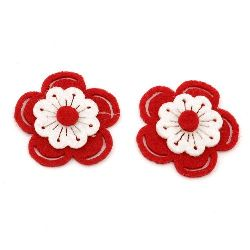 Flower Felt Embellishment DIY Decoration 37x38x6 red with white 3 layers -10 pieces