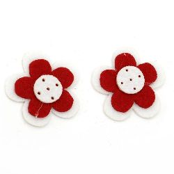 Flower Felt Embellishment DIY Decoration 2x43x6 white with red 3 layers -10 pieces