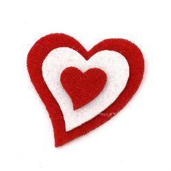 Pâslă de inimă 51x48x6 mm 3 straturi -10 bucăți