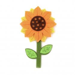 Floare de pâslă 95x65x4 mm - 5 bucăți