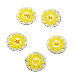 Emoticons sun paper and felt 35 mm assorted -5 pieces