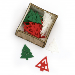 Fir tree 40x30x2 mm ASSORTED in a box -30 pieces