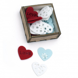 Assorted hearts from felt 30x2 mm mixed colors in a box - 30 pieces