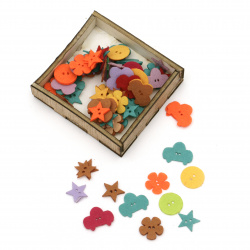 Felt button 16x1 mm ASSORTED in a box -100 pieces