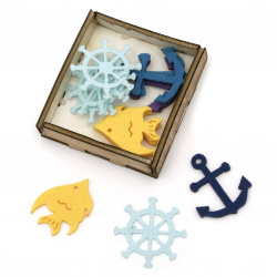 Marine motifs made of felt  for embellishment of festive cards, frames, albums40 mm ASSORTED in a box -15 pieces