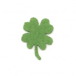 Four-leaf clover with handle of felt 21x1 mm green - 20 pieces