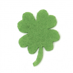 Felt clover with a handle of felt for decoration of greeting cards, boxes 33x1 mm green - 10 pieces