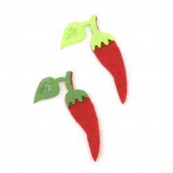 Pepper with leaf from felt for various school projects 50x26x2 mm - 10 pieces