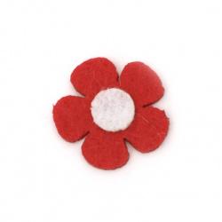 Λουλούδι, τσόχα 25x2 mm κόκκινο με λευκό -10 κομμάτια
