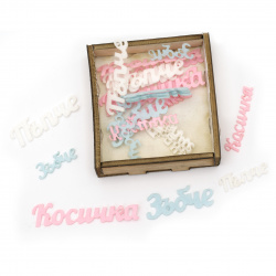 Inscriptions navel tooth pigtail felt 25x10x1 mm, 40x10x1 mm, 40x15x1 mm, 60x15x1 mm ASSORTED in a box -30 pieces