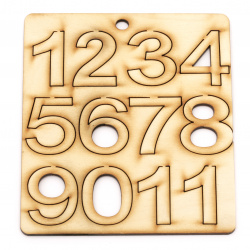 Wooden Numbers 40x20~34x3 mm - from 1 to 10