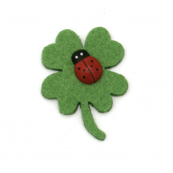 Clover felt with ladybug wood  for handmade 40x30x2 mm -10 pieces
