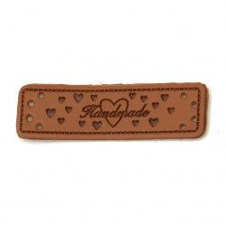 "Faux leather element for decoration with tiny hearts 50x15x1.2 mm hole 1 mm with inscription ""Handmade"" color brown - 10 pieces"