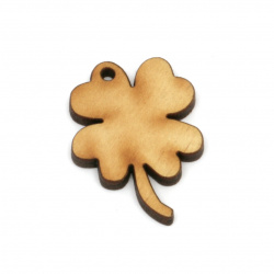 Wooden figurine for decoration, four leaf clover 35x25x3 mm - 10 pieces