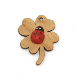 Wooden figurine for decoration clover with ladybug 35x25 mm - 5 pieces
