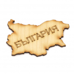 Wooden figurine for decoration map of Bulgaria with inscription 79x52x3 mm - 2 pieces