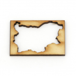 Wooden figurine for decoration, frame map of Bulgaria 47x32x3 mm - 4 pieces