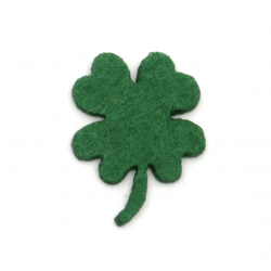 Clover with a handle of felt for handmade decoration 33x2 mm dark green  - 10 pieces