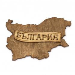 Figură din lemn pentru decorarea hărții Bulgaria cu inscripție 80x55x3 mm pata -2buc