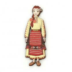 Фигурка дърво жена с народна носия 75x25 мм -2 броя