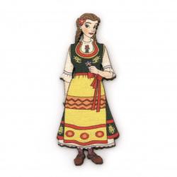 Фигурка дърво жена с народна носия 75x30 мм -2 броя