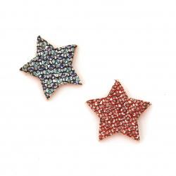 Звезда филц с брокат 20x2 мм АСОРТЕ -10 броя
