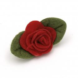 Роза филц 40x18 мм червена -5 броя